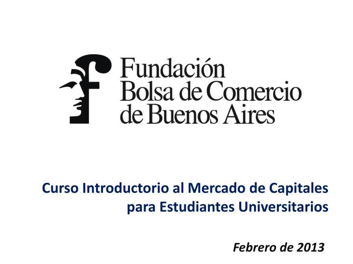Curso Introductorio al Mercado de Capitales