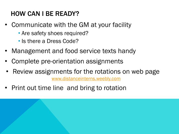 How Can I be ready?