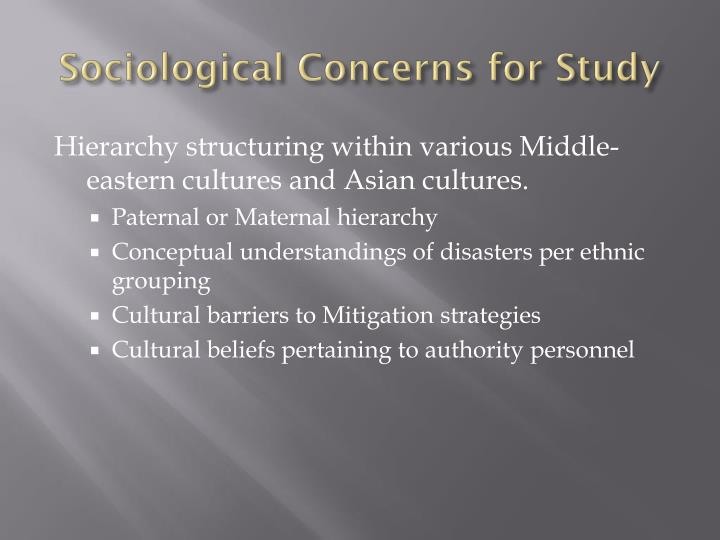 Sociological Concerns for Study