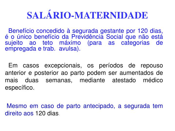 SALÁRIO-MATERNIDADE