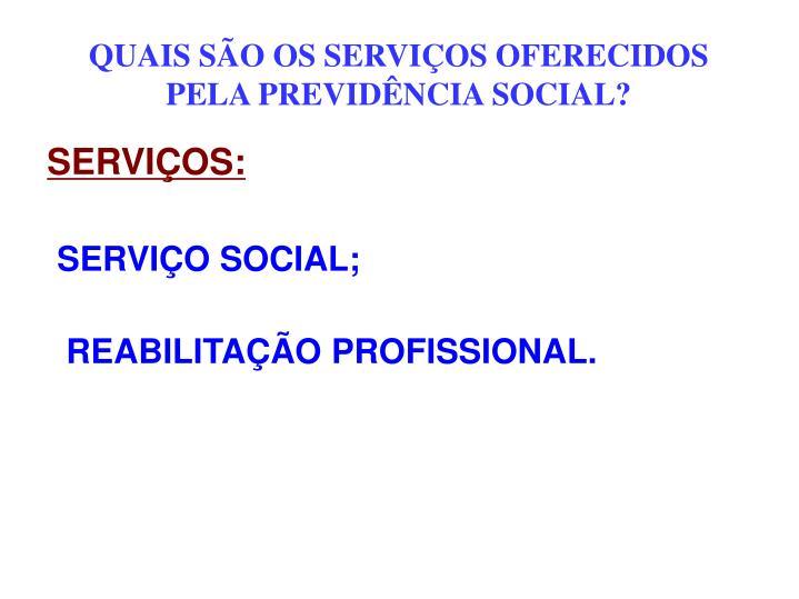 QUAIS SÃO OS SERVIÇOS OFERECIDOS PELA PREVIDÊNCIA SOCIAL?