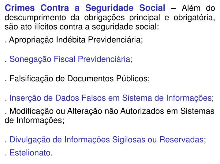 Crimes Contra a Seguridade Social