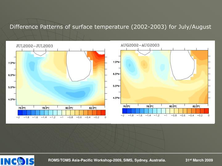 Difference Patterns of surface temperature (2002-2003) for July/August