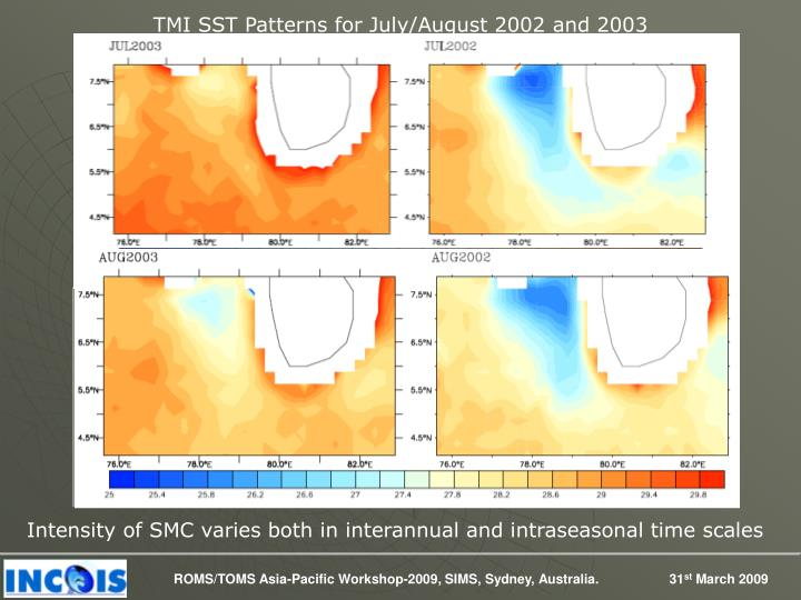 TMI SST Patterns for July/August 2002 and 2003