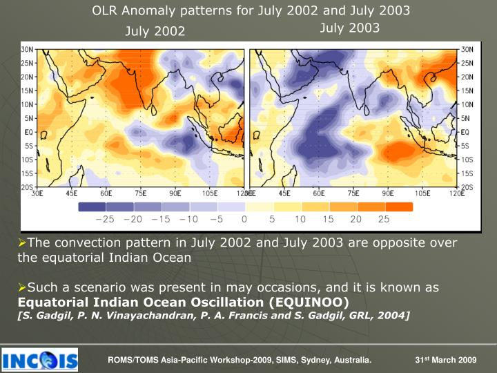 OLR Anomaly patterns for July 2002 and July 2003