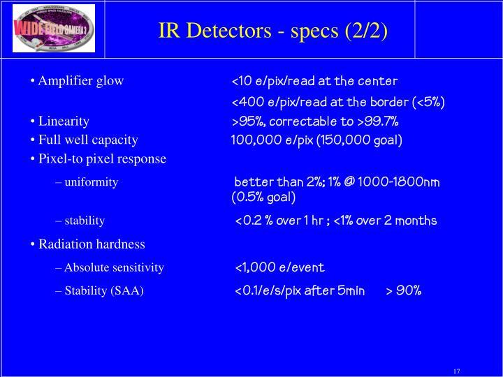 IR Detectors - specs (2/2)