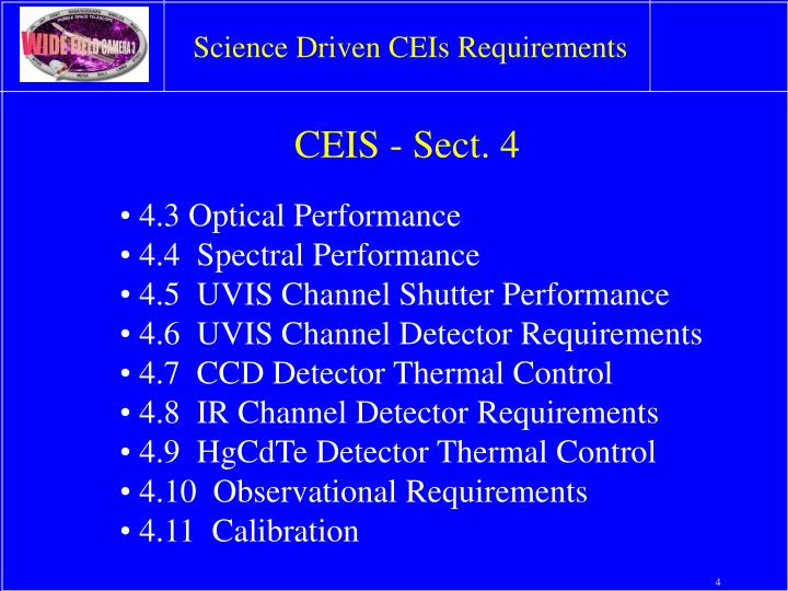 Science Driven CEIs Requirements