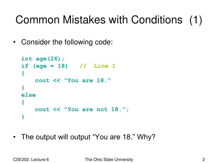 Common mistakes with conditions 1