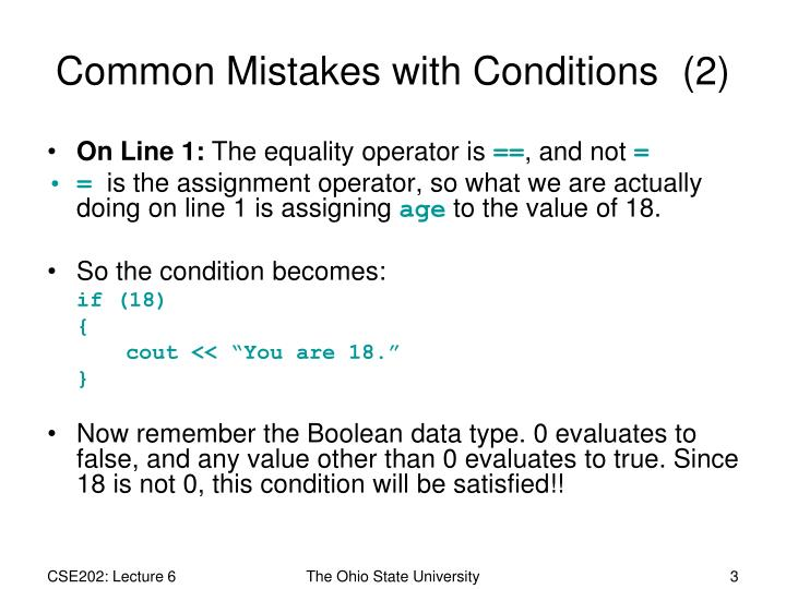 Common mistakes with conditions 2