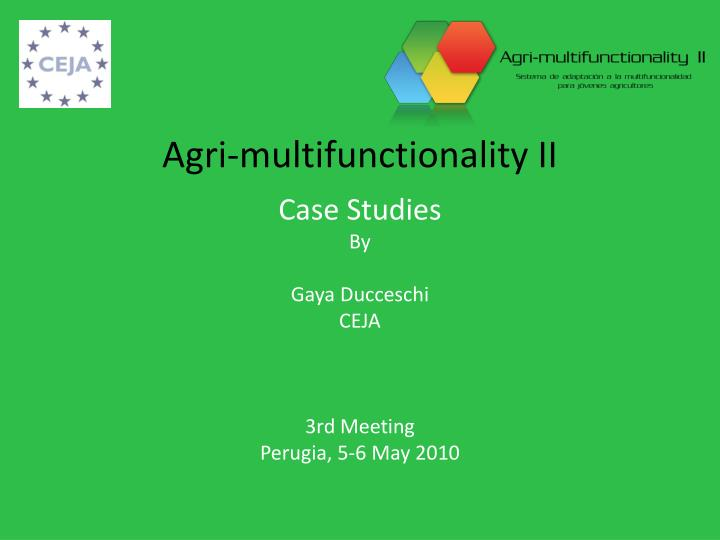 Agri multifunctionality ii