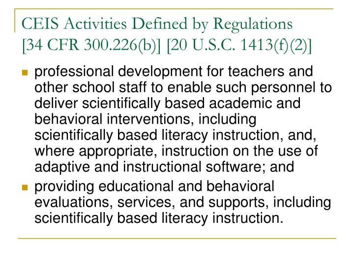 CEIS Activities Defined by Regulations
