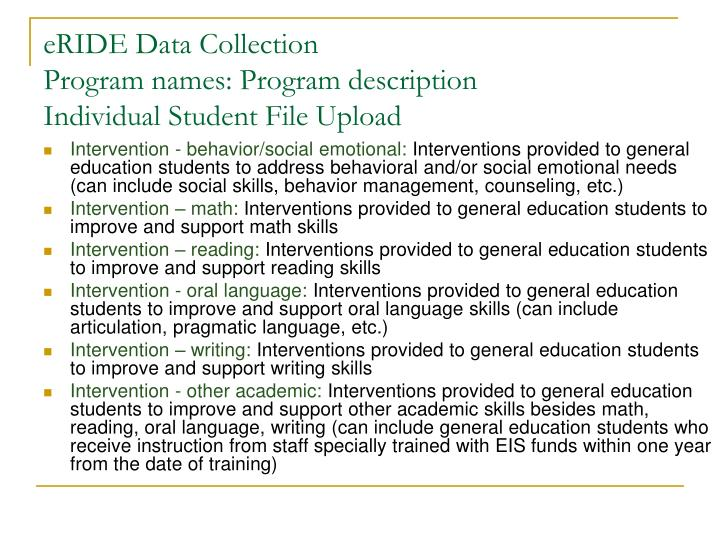 Eride data collection program names program description individual student file upload