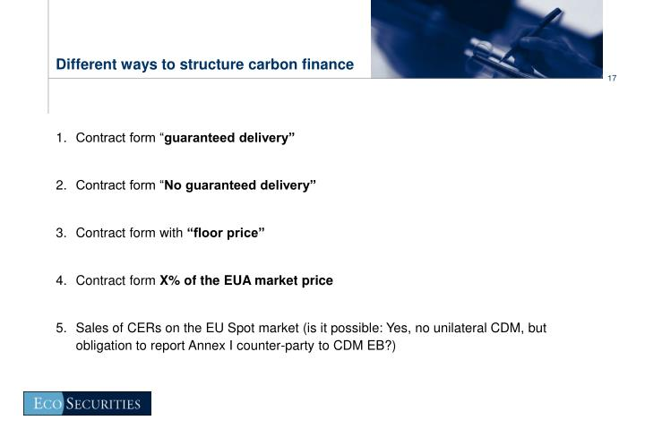 Different ways to structure carbon finance