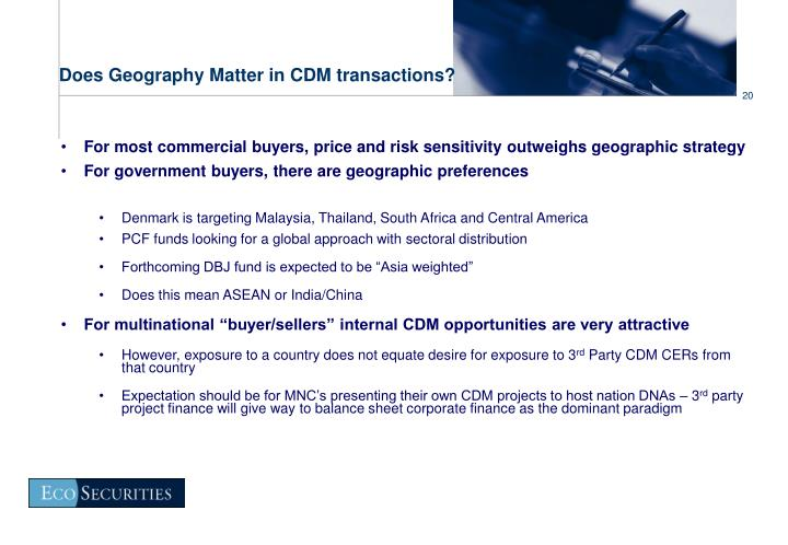 Does Geography Matter in CDM transactions?