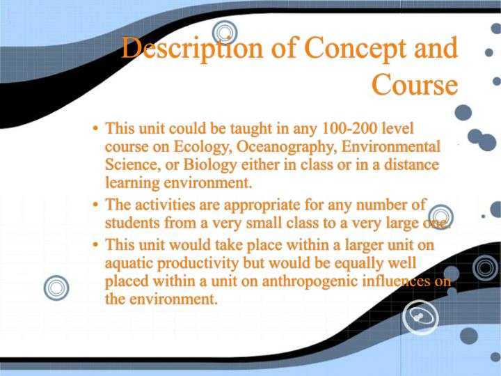 Description of concept and course