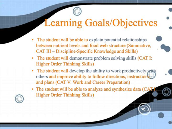 Learning goals objectives