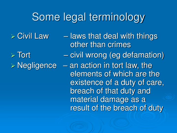 Some legal terminology