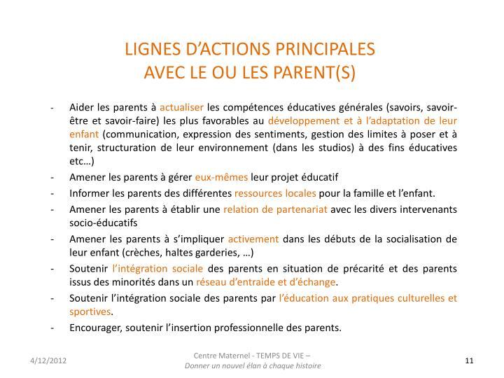 LIGNES D'ACTIONS PRINCIPALES