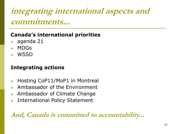 integrating international aspects and commitments...
