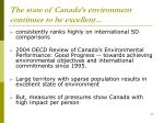 the state of canada s environment continues to be excellent