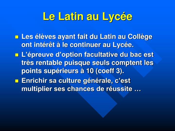 Le Latin au Lycée