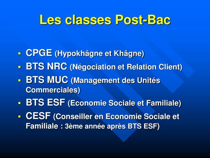 Les classes Post-Bac