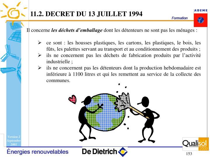 11.2. DECRET DU 13 JUILLET 1994