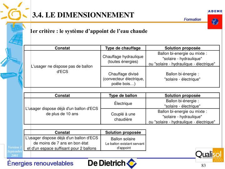 3.4. LE DIMENSIONNEMENT