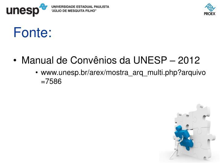 Manual de Convênios da UNESP – 2012
