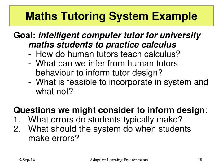 Maths Tutoring System Example