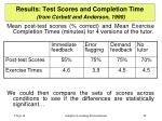 results test scores and completion time from corbett and anderson 1990