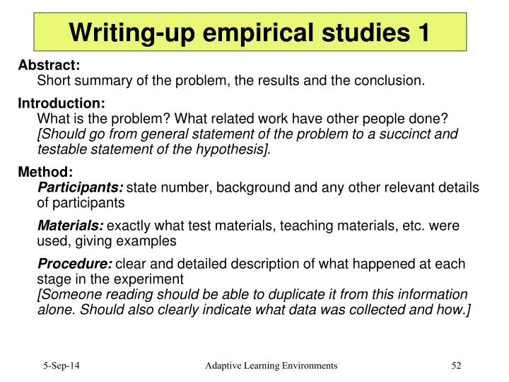 Writing-up empirical studies 1