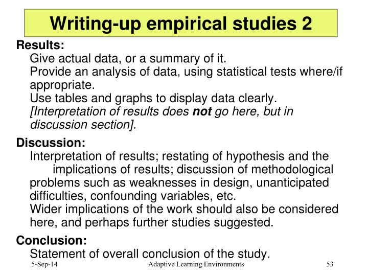 Writing-up empirical studies 2