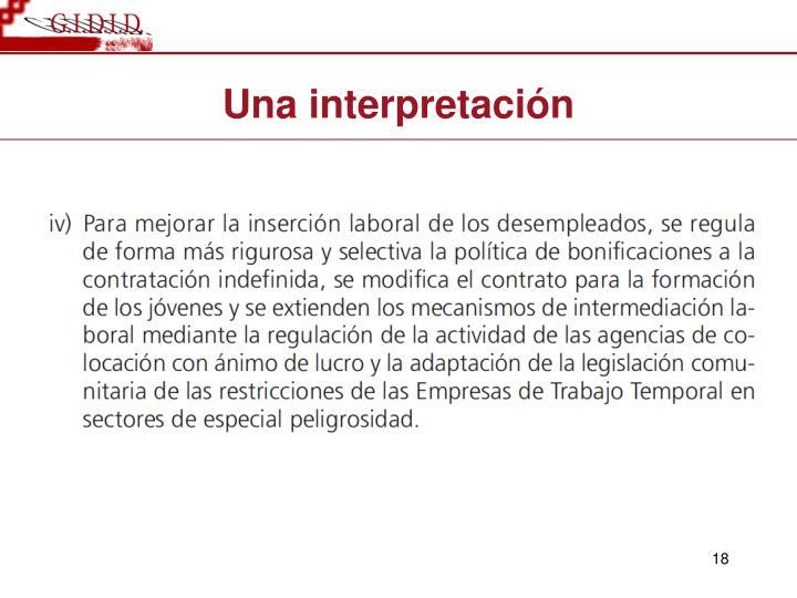 Una interpretaci