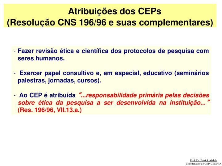 Atribuições dos CEPs