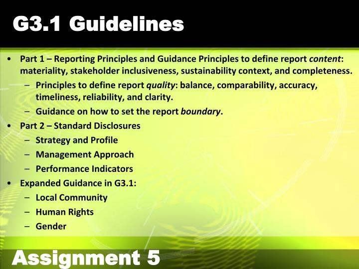 G3.1 Guidelines