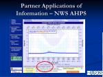 partner applications of information nws ahps
