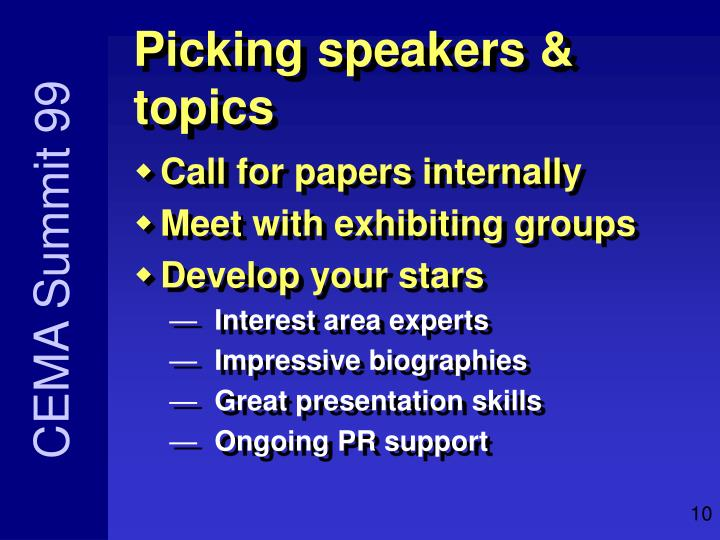 Picking speakers & topics