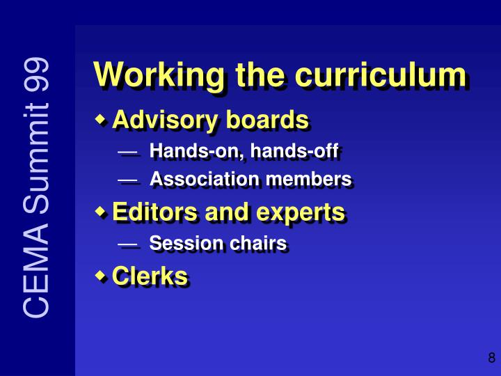 Working the curriculum