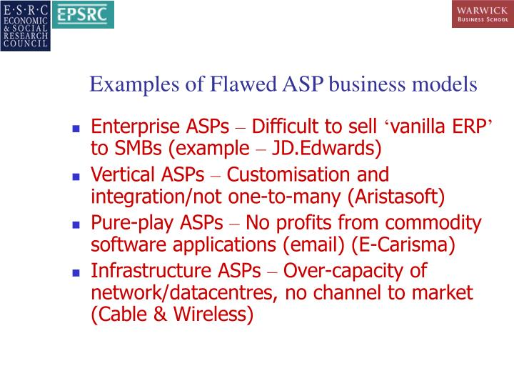 Examples of Flawed ASP business models