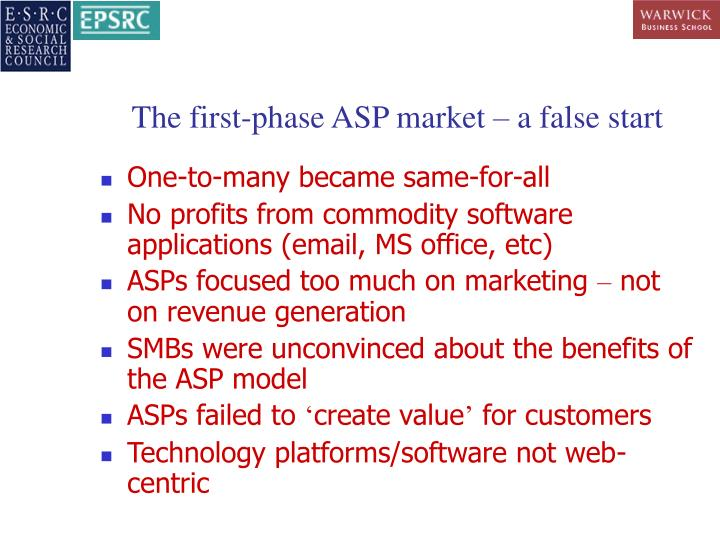 The first-phase ASP market – a false start