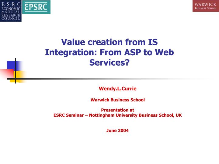 Value creation from is integration from asp to web services