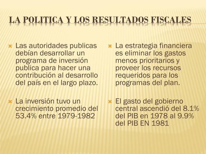 Las autoridades publicas debían desarrollar un programa de inversión publica para hacer una contribución al desarrollo del país en el largo plazo.