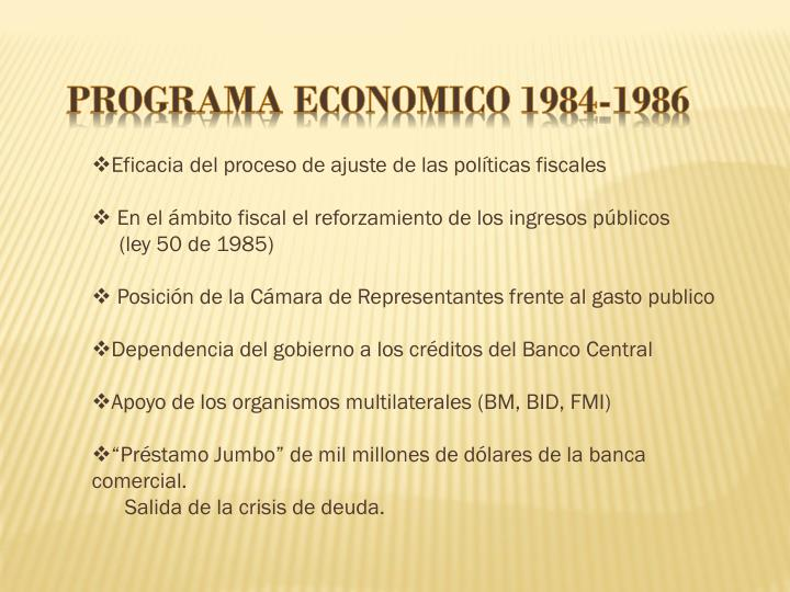 PROGRAMA ECONOMICO 1984-1986