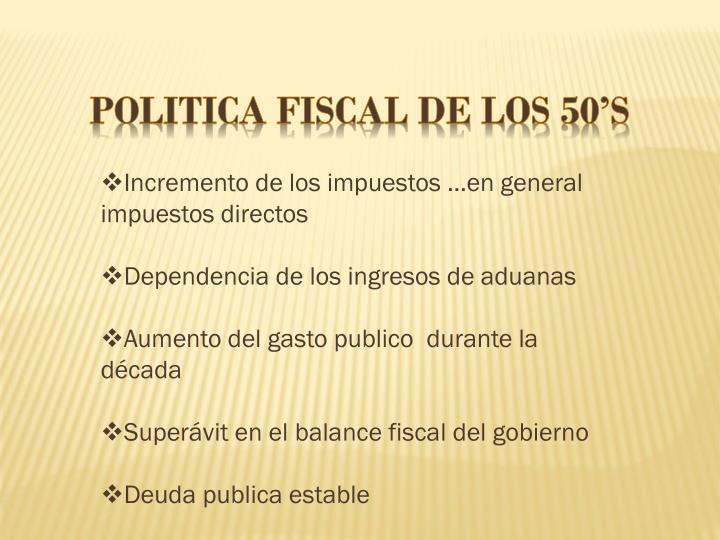 POLITICA FISCAL DE LOS 50'S