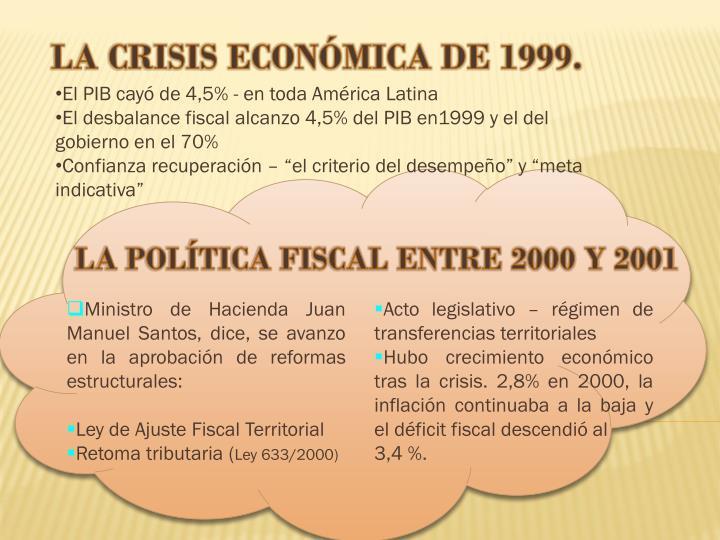 LA CRISIS ECONÓMICA DE 1999.