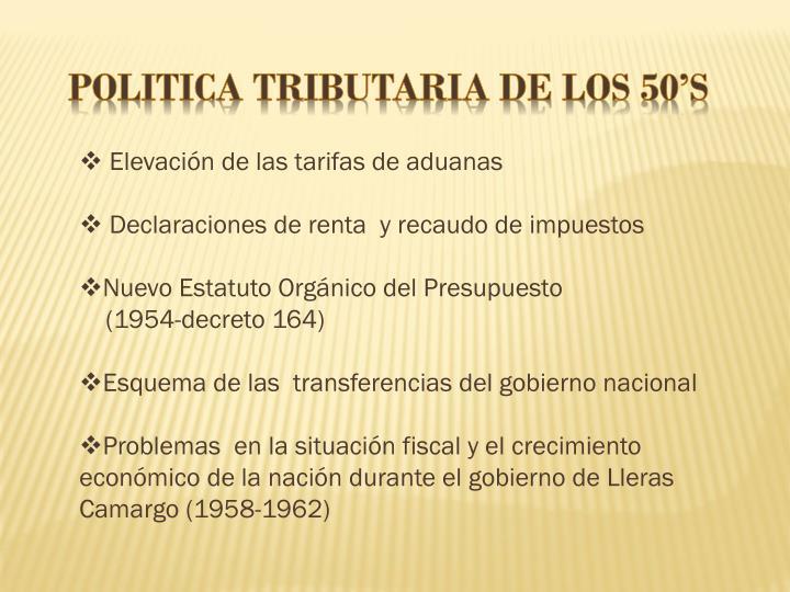 POLITICA TRIBUTARIA DE LOS 50'S