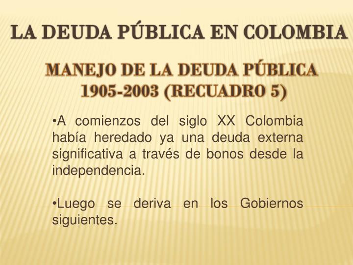 LA DEUDA PÚBLICA EN COLOMBIA