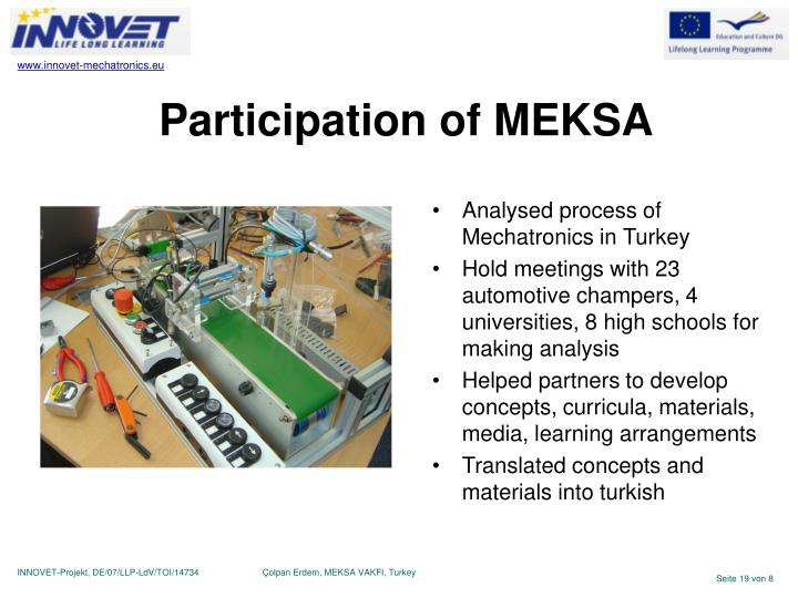 Participation of MEKSA