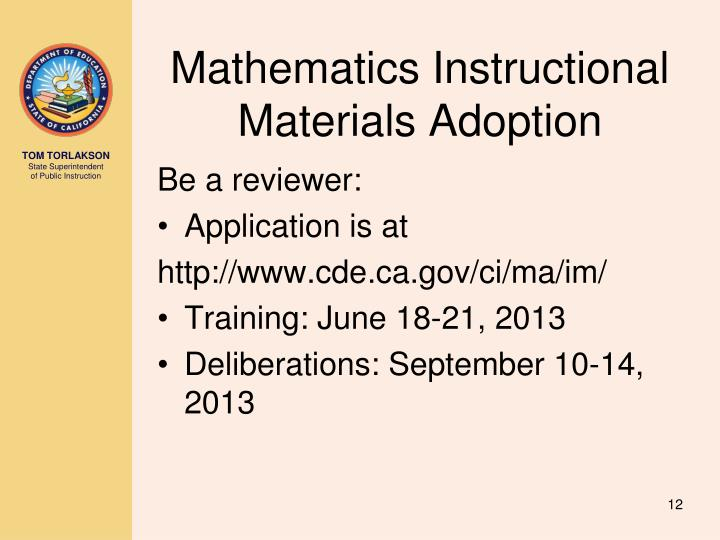 Mathematics Instructional Materials Adoption